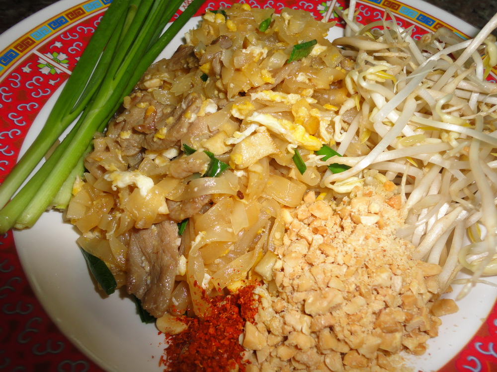 Pad thai noodles with pork.