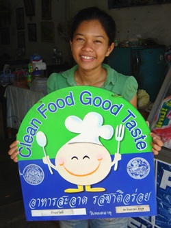Clean Food, Good Taste Sign for Thai food restaurants in Thailand